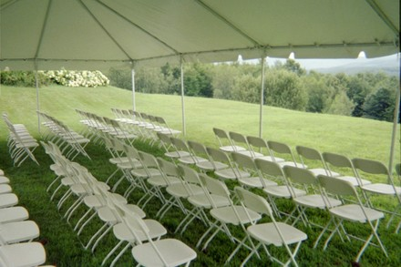 Interior Of 20 X 30 Frame Tent With White Samsonite Chairs Paul