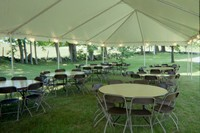 20' x 50' frame tent with tables and chairs