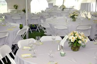 Tables and chairs at wedding