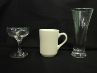 Glassware:Wide champagne,coffee mug,Pilsner Beer glass